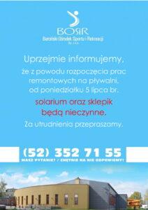 Read more about the article Solarium oraz Sklepik zamknięte!