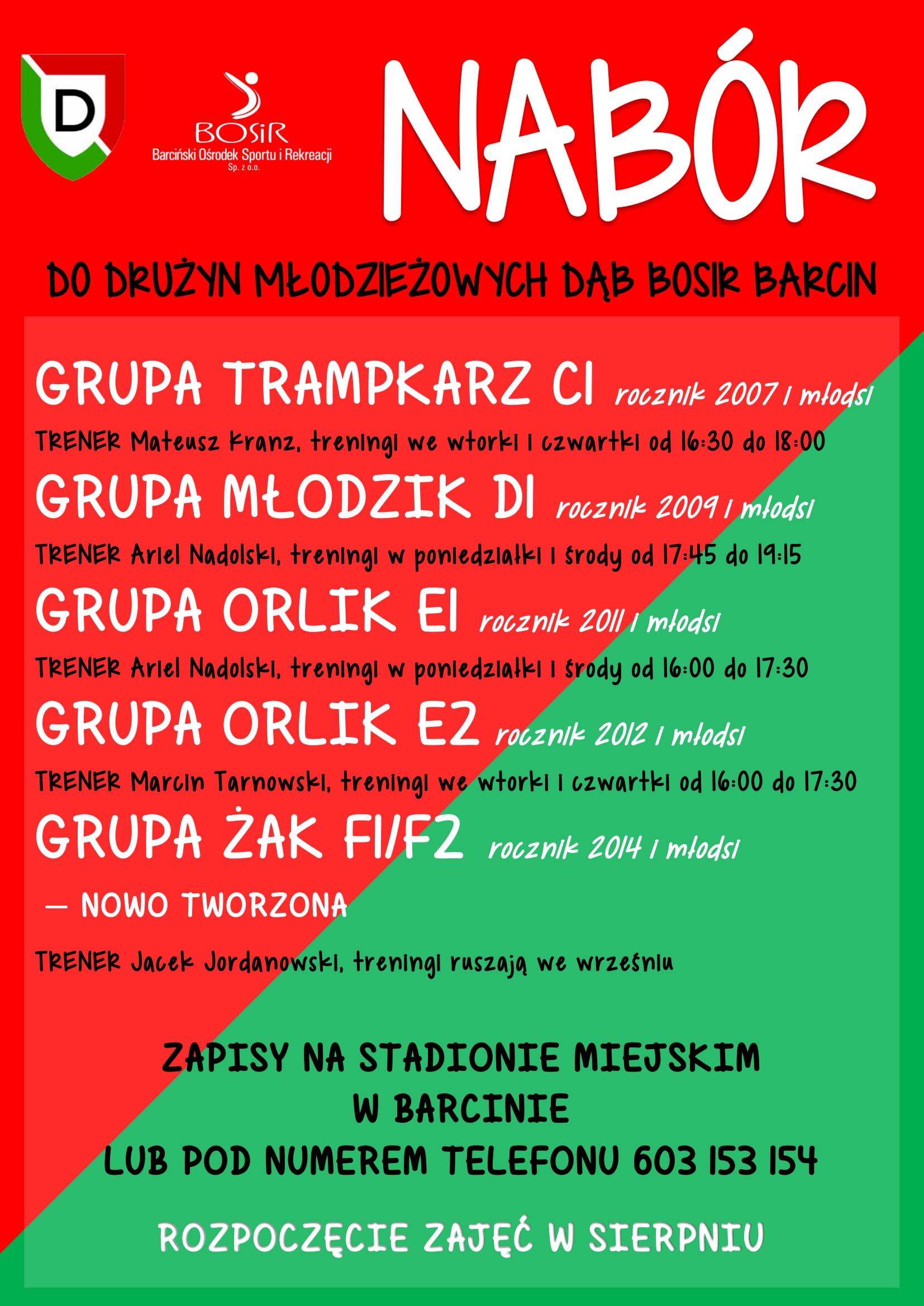 You are currently viewing Nabór do Drużyn Młodzieżowych Dąb Bosir Barcin
