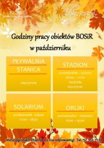 Read more about the article Godziny pracy obiektów BOSiR w październiku